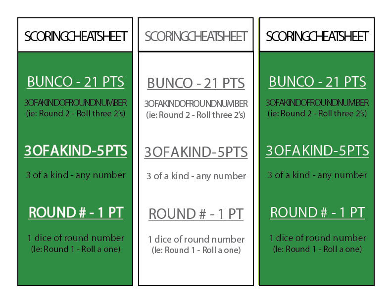 This is a picture of Printable Bunco Cards in arnis score