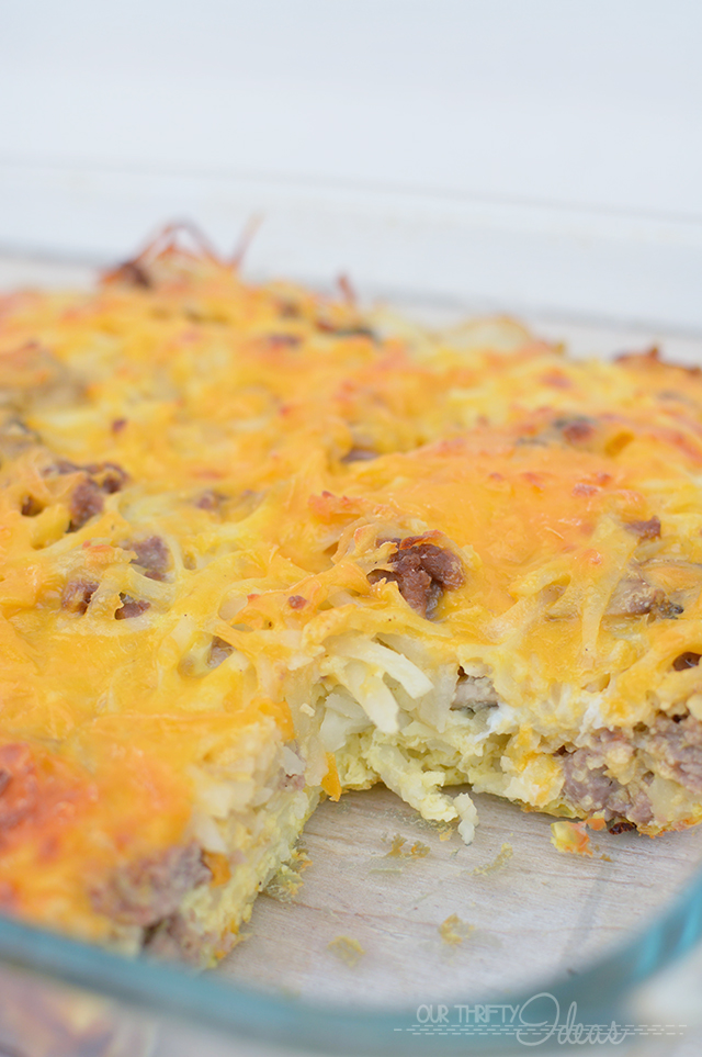 This is the perfect overnight breakfast casserole . Spend 15 minutes the night before, and get a delicious hot meal in the morning!!