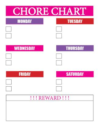 Girl's Chore Chart - reward at bottom