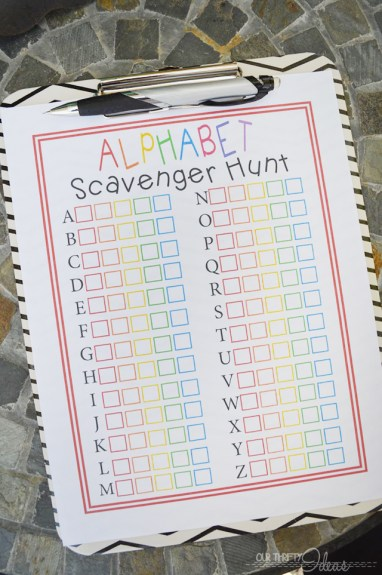 ABC scavenger hunt printable
