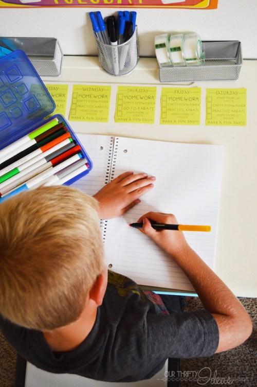 kids craft and homework station