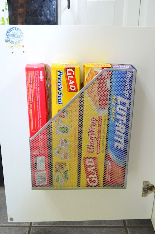 magazine rack for storing your  tin foil and plastic wrap