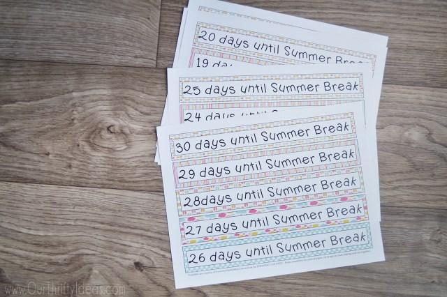 days until summer break printable