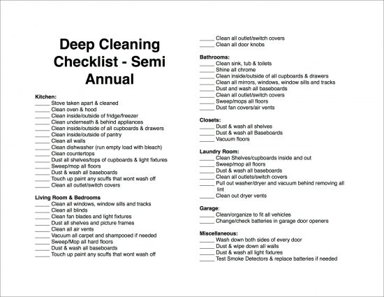 Semi Annual Cleaning Checklist