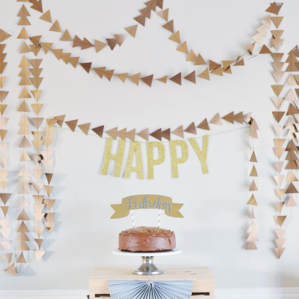 Easy DIY paper triangle garland
