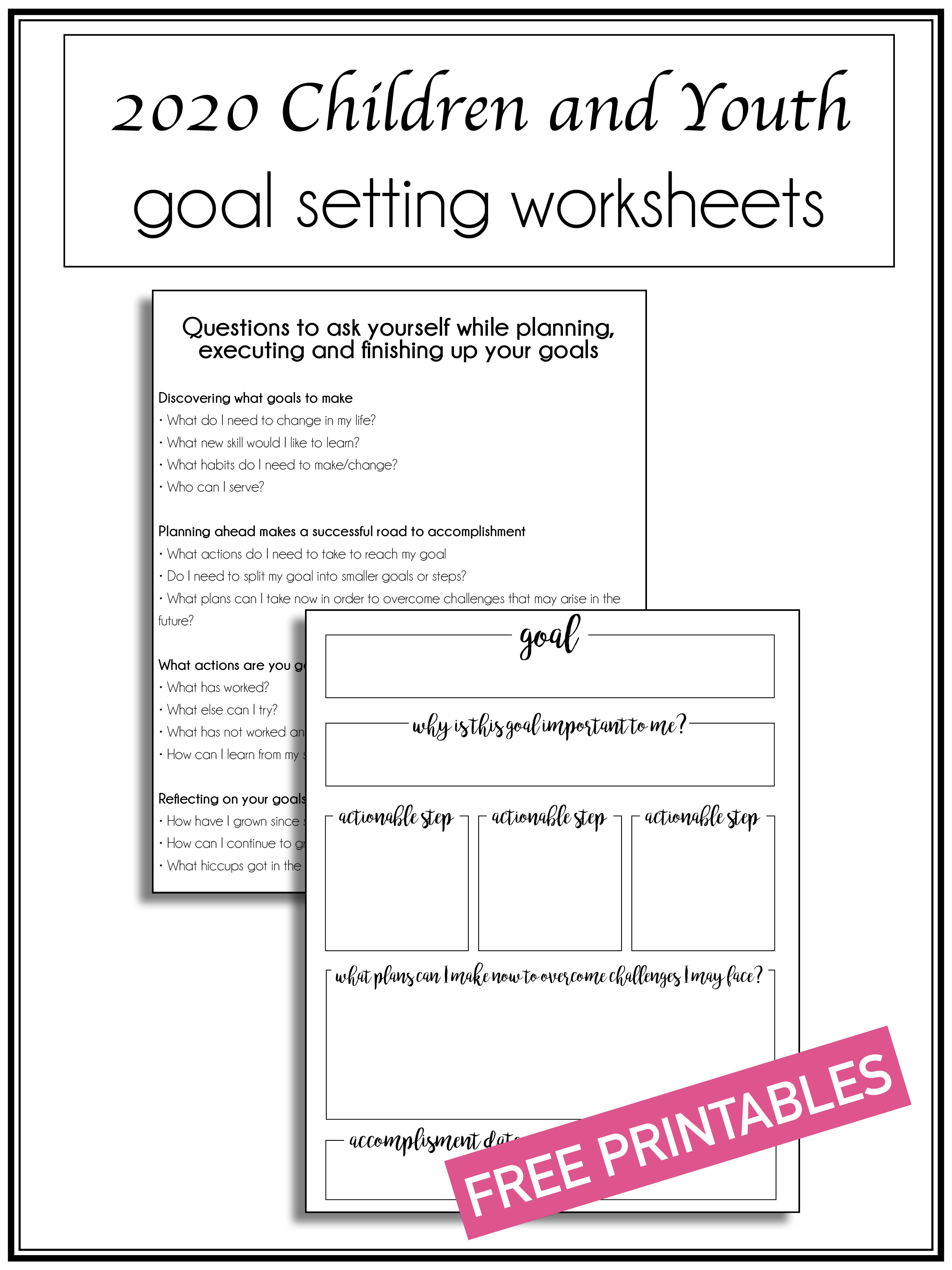Goal Worksheets Pinterest