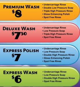 Automatic car wash menu
