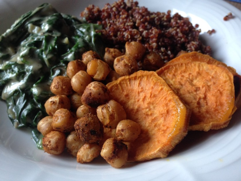 Red Quinoa Chickpea Spinach Bowl