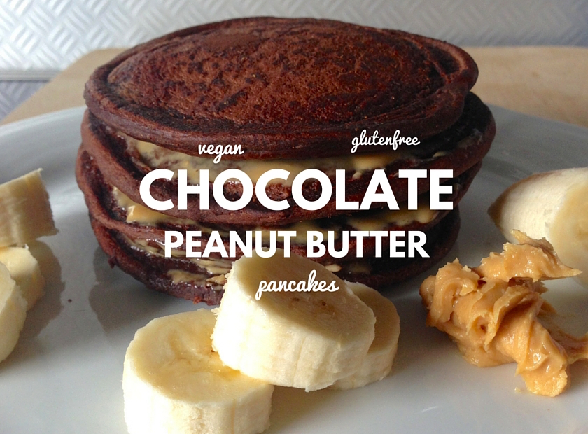 vegan chocolate peanut butter pancakes