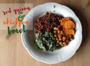 Red Quinoa Chickpea Spinach Bowl