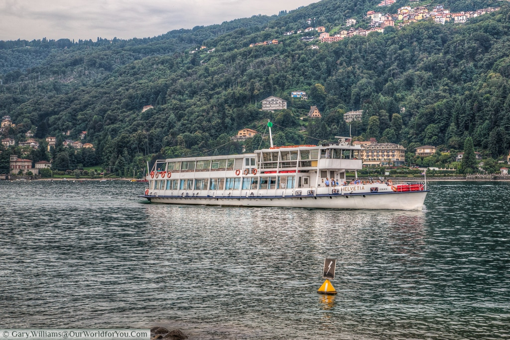 A ferry arriving at the Borromean Islands, Piedmont, Italy