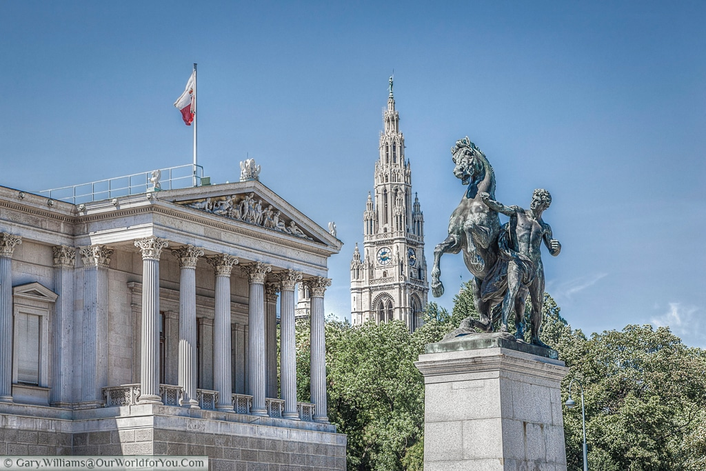 The Horse Tamer statue is one of a pair flanking the entrance to the parliament buildings in Vienna, Austria