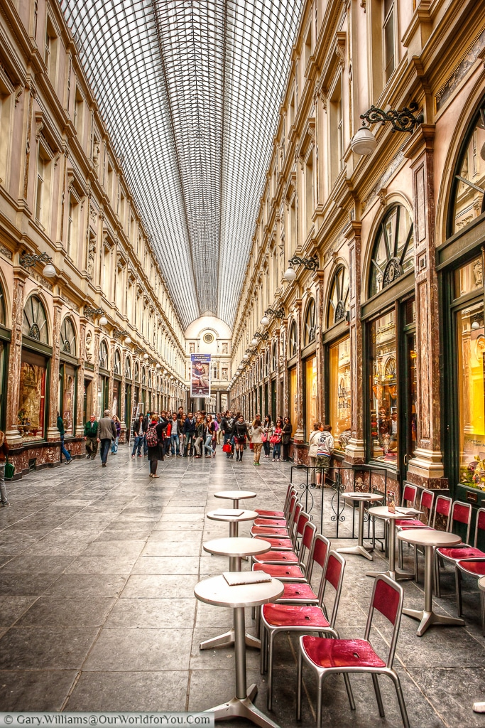 The interior of the splendid Galeries Royales Saint-Hubert in the heart of Brussels