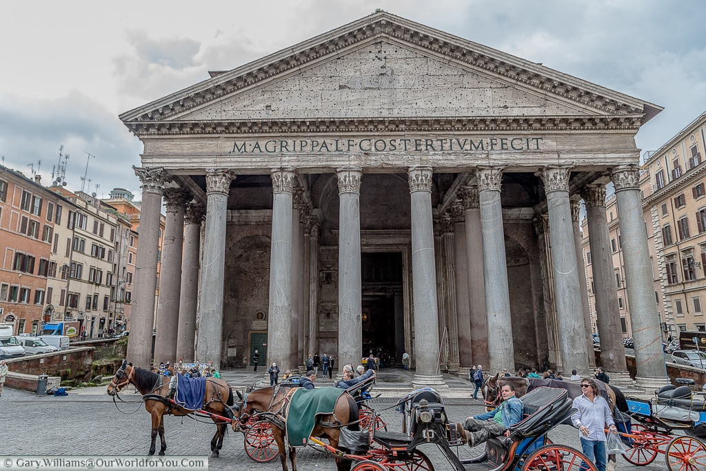 Horse-drawn carriages outside the Pantheon, Rome, Italy