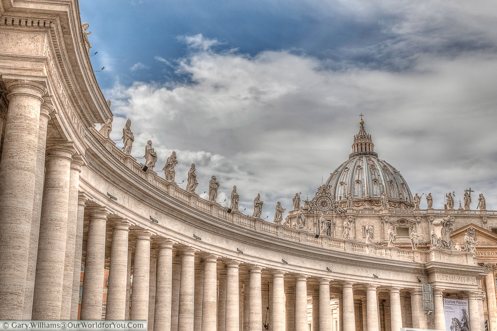 One of the colonnades in St Peter's square, Rome, Italy