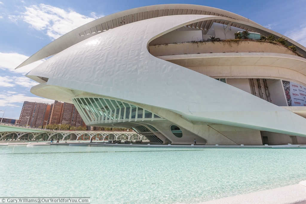 The Palau de les Arts Reina Sofía, in the City of Arts & Science in Valencia, Spain