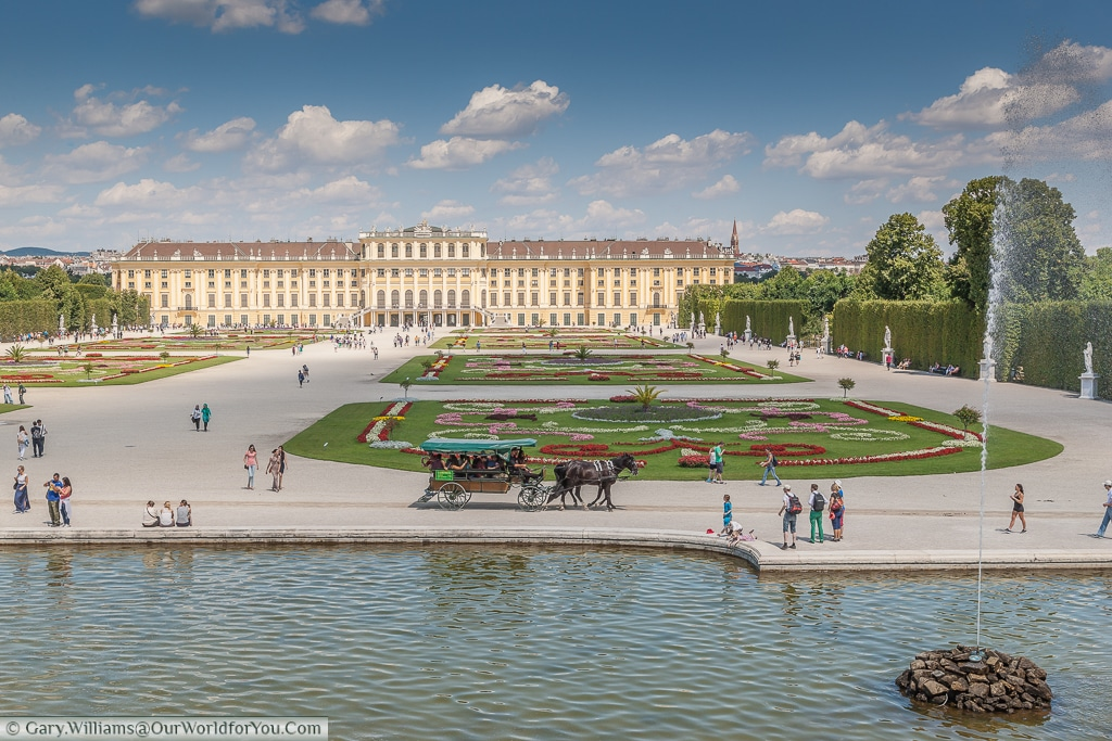 The view of the Schönbrunn Palace from the top of the Neptune Fountain.