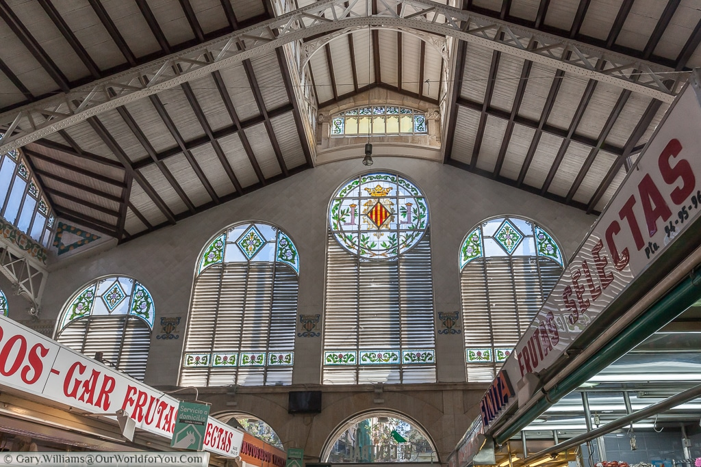 The stained glass of Mercado Central, Valencia, Spain