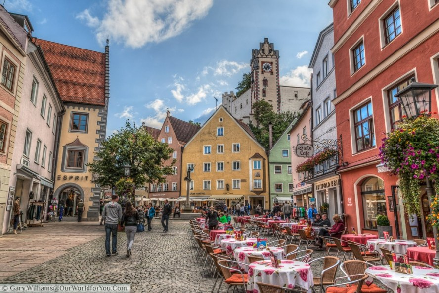 The town castle (Hohes Schloss), from the high street, Füssen,Bavaria, Germany