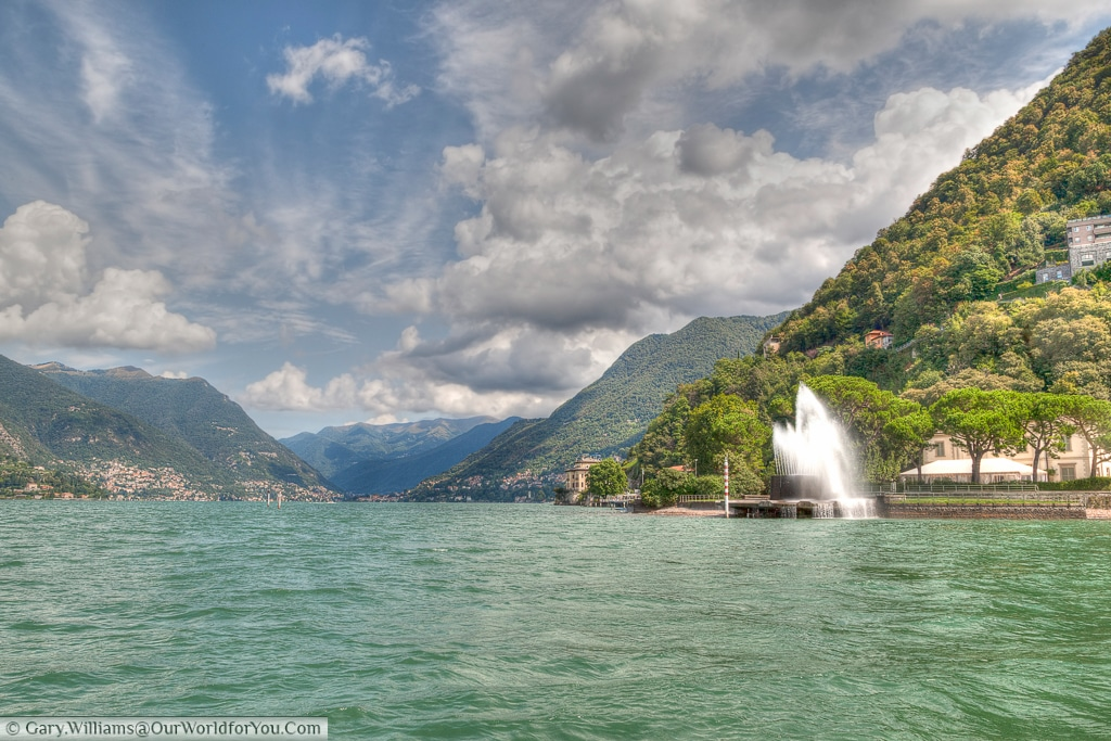 The view up from Como, Lake Como, Lombardy, Italy,