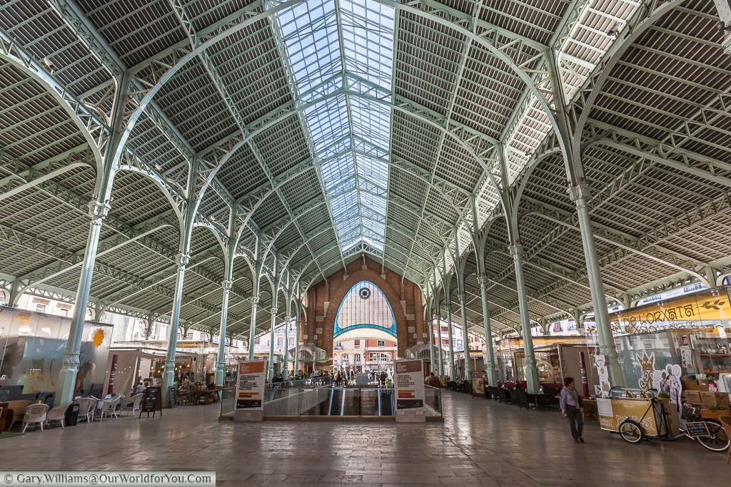 A view of the beautiful interior of the Mercado de Colon from the inside, Valencia, Spain