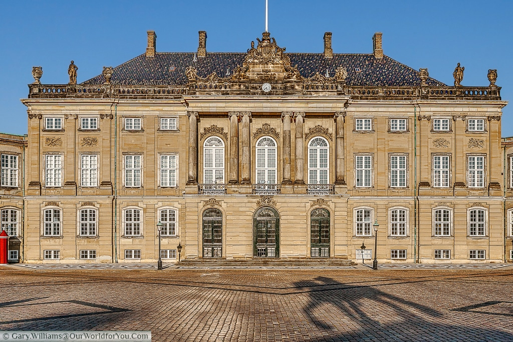 The Amalienborg Palace in the evening as the sun starts to set, Copenhagen, Denmark
