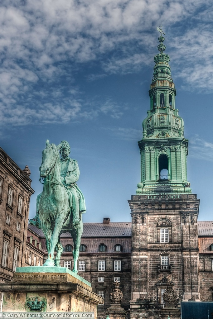 The equestrian statue of Christian IX, in front of the Christiansborg Palace, Copenhagen, Denmark