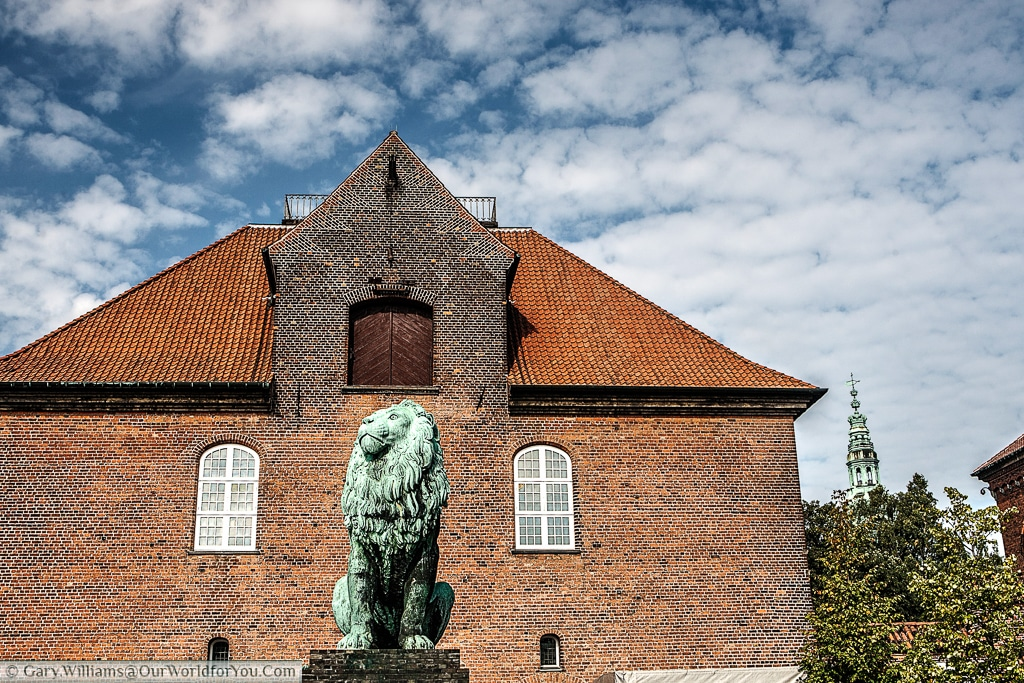 One end of the Tøjhus Museum with the Lion Statue, Copenhagen, Denmark