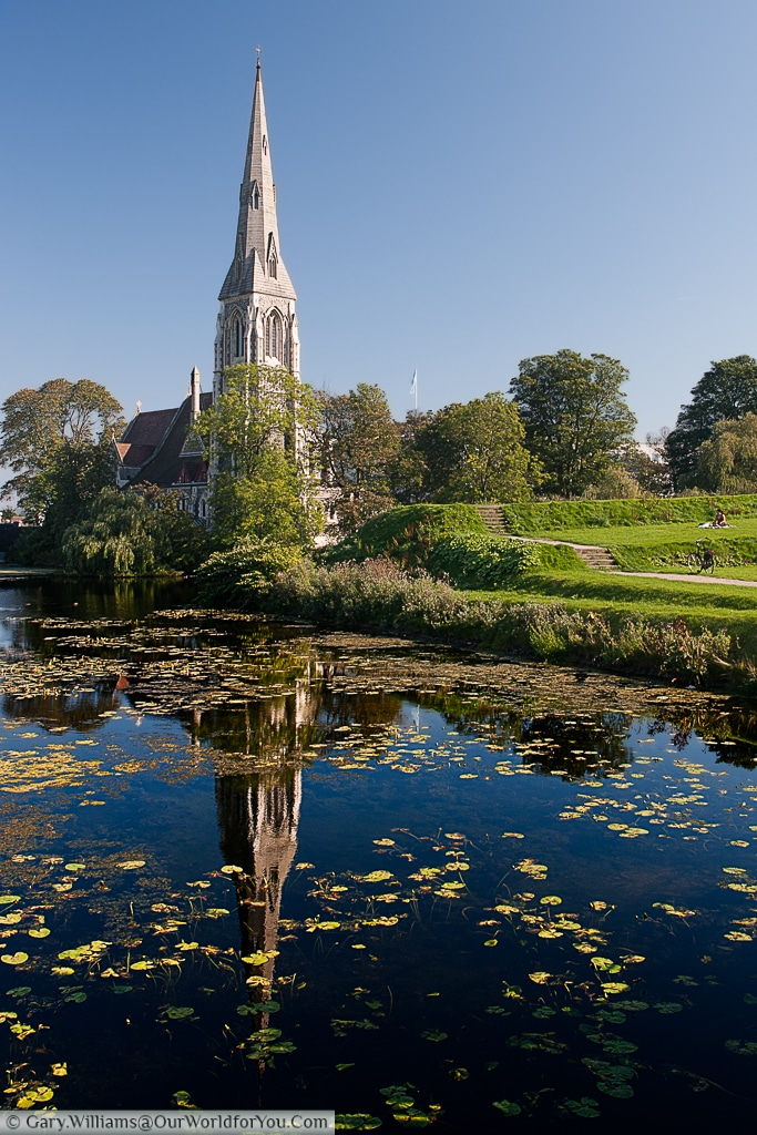 A view of St. Alban's Church or the English Church, over the Copenhagen, Denmark