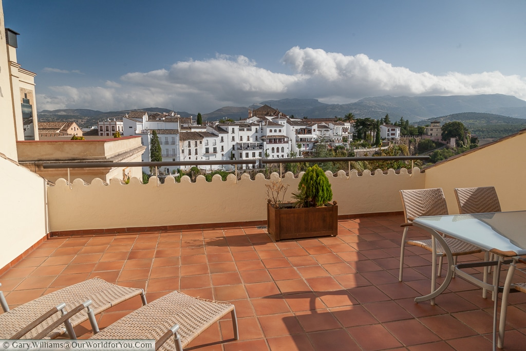 A view from our room's terrance at the Parador de Ronda, Spain