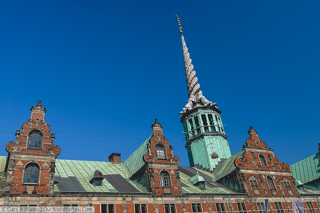 The roof of the Børsen or the old stock exchange, with its distinctive spire comprised of the tails of 4 dragons, Copenhagen, Denmark