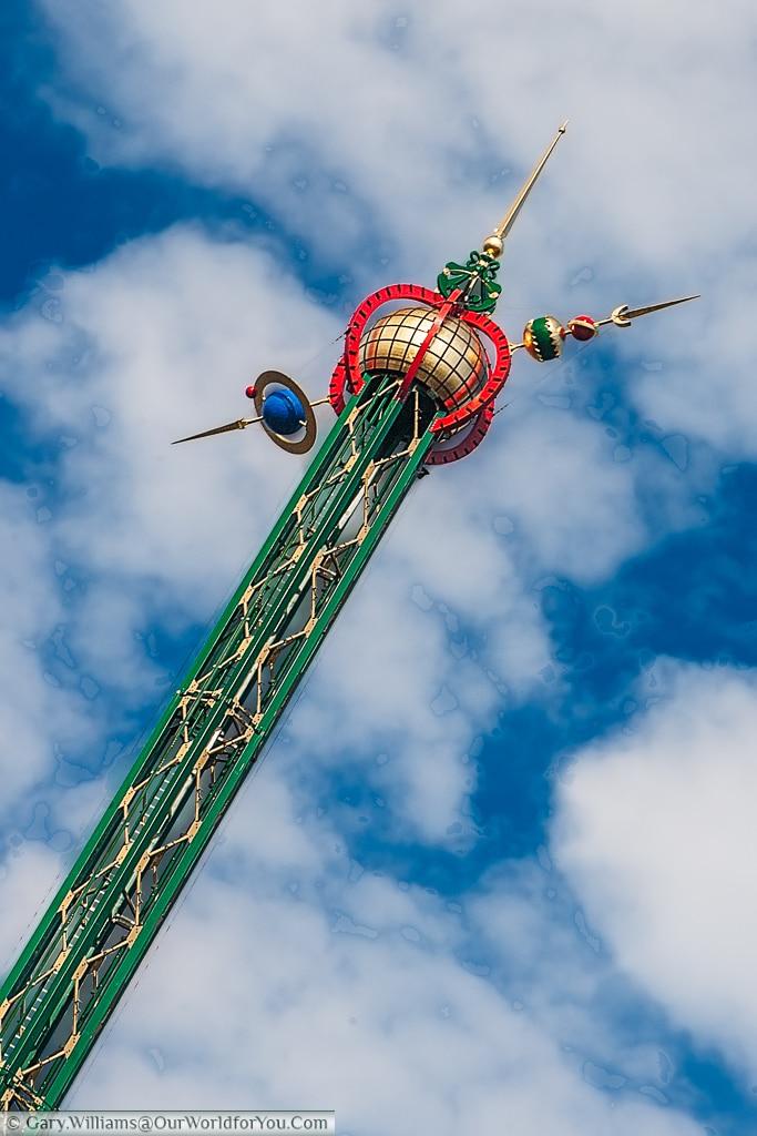 The top of the Star Flyer (Himmelskibet) at the Tivoli Gardens, Copenhagen, Denmark