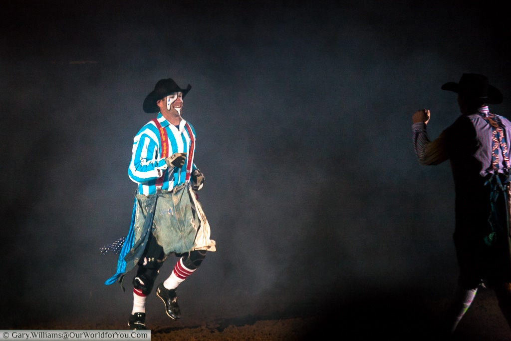 Clowns at the Stockyards Championship Rodeo, Fort Worth, Texas