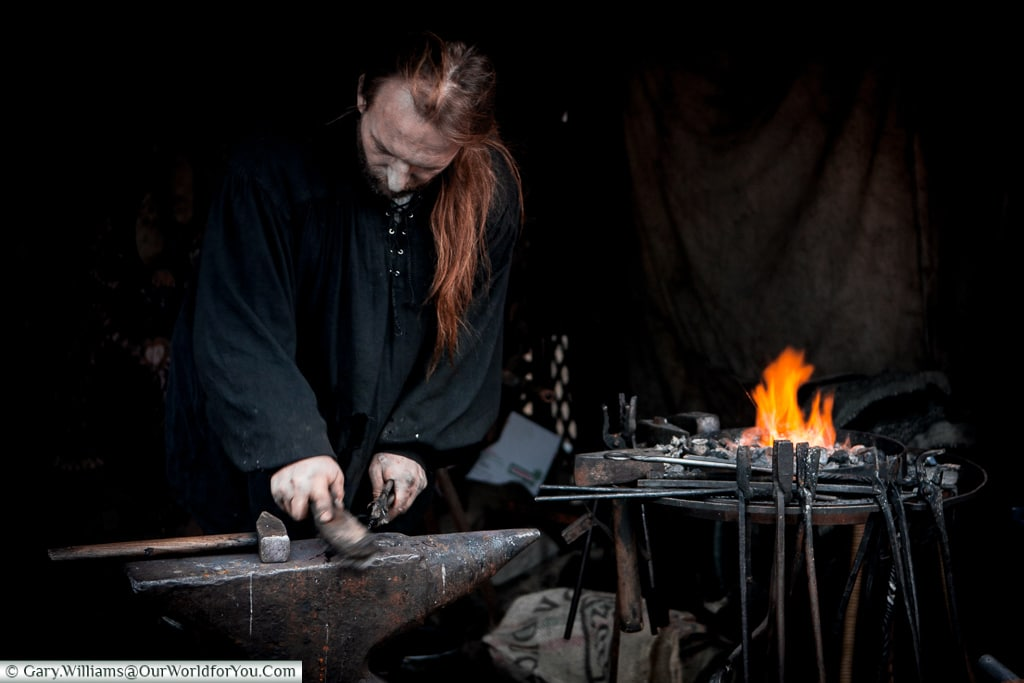 The ironsmith at the old medieval Christmas Market - 2009, Cologne, Germany