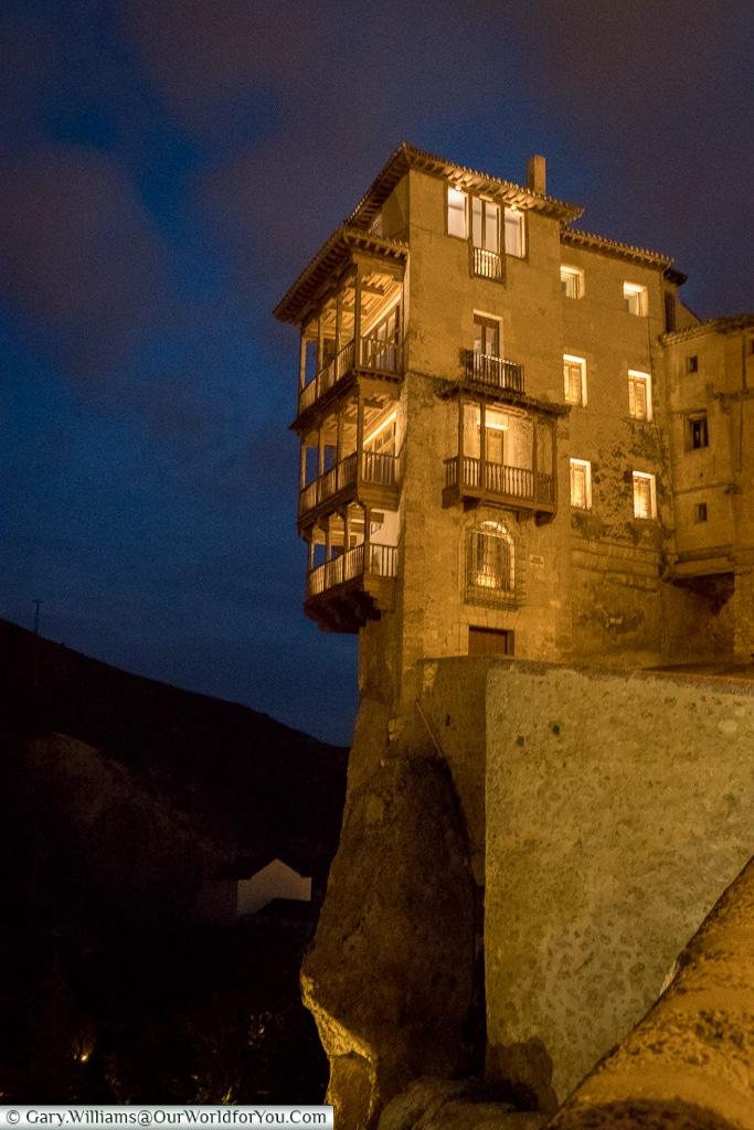 Casas Colgadas at night, Cuenca, Spain