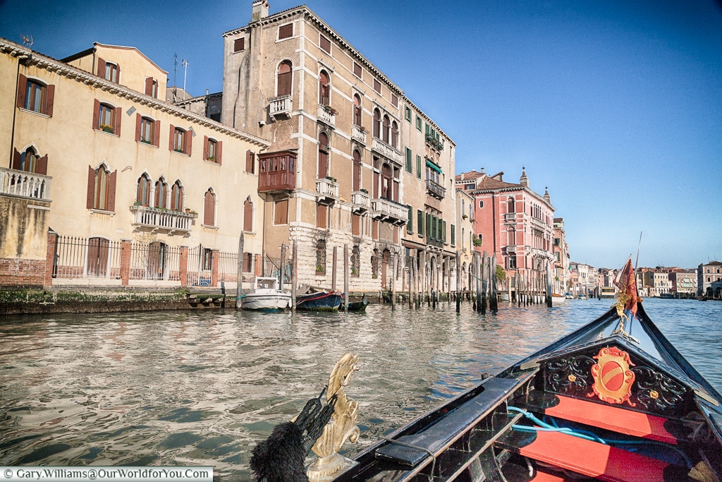 The view from a Gondola, Venice, Italy