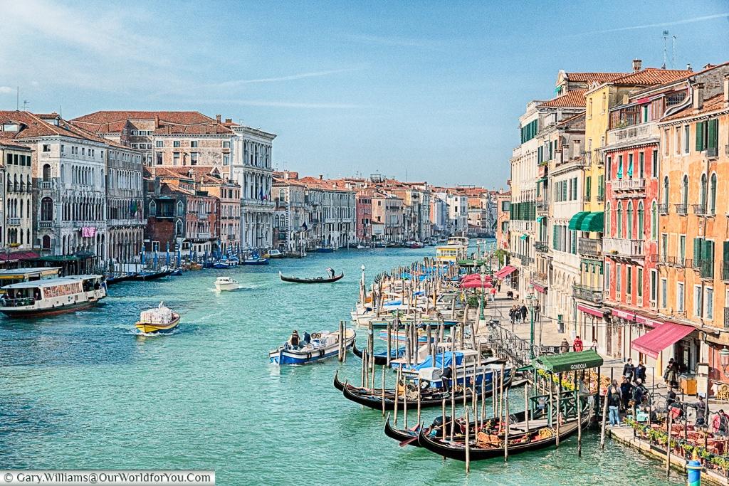 The view from the Rialto Bridge, Venice, Italy