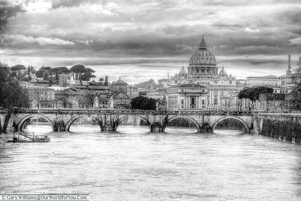 The view of the Basilica from the Ponte Umberto, Rome, Italy-II