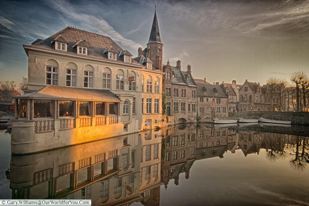 View over the Rozenhoedkaai, Bruges, Belgium