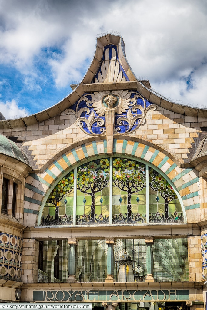 The entrance to the Royal Arcade, Norwich, Norfolk, England