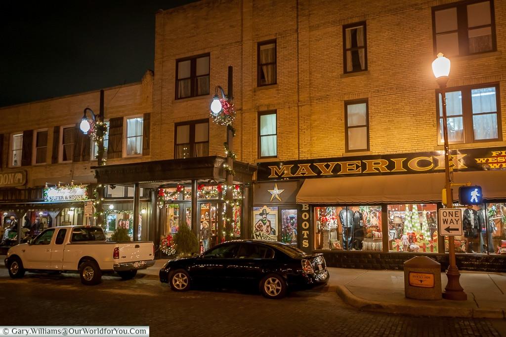Mavericks after dark, Stockyards. Fort Worth, Texas, USA
