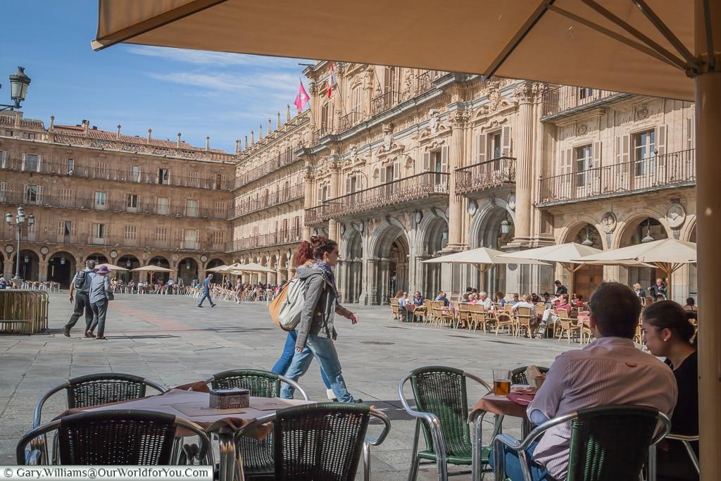Relaxing on Plaza Mayor, Salamanca, Spain