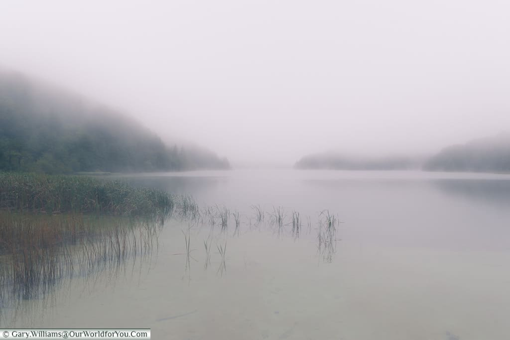 An eerie mist hand over the upper lake, Plitvice Lakes, Croatia