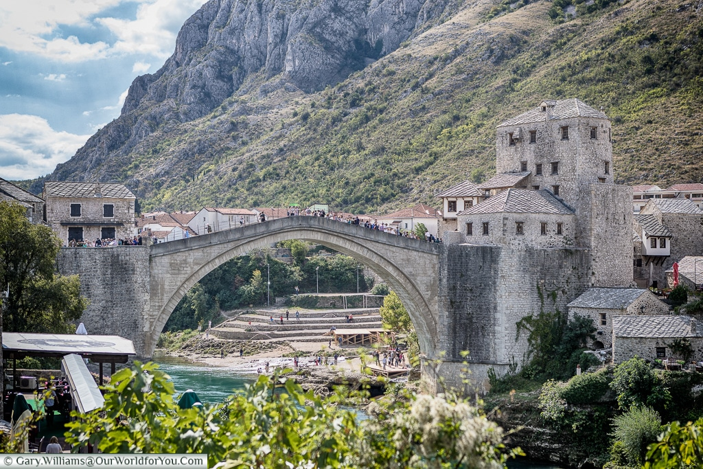 Looking south to the Stari Most, Mostar, Bosnia and Herzegovina