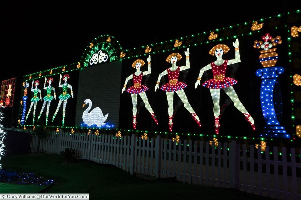 Swan Lake, Blackpool illuminations, Lancashire, England, UK