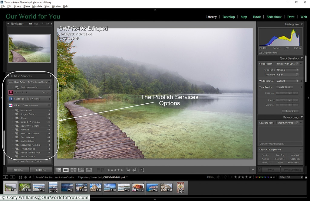 The Publish Service Options, Adobe Lightroom