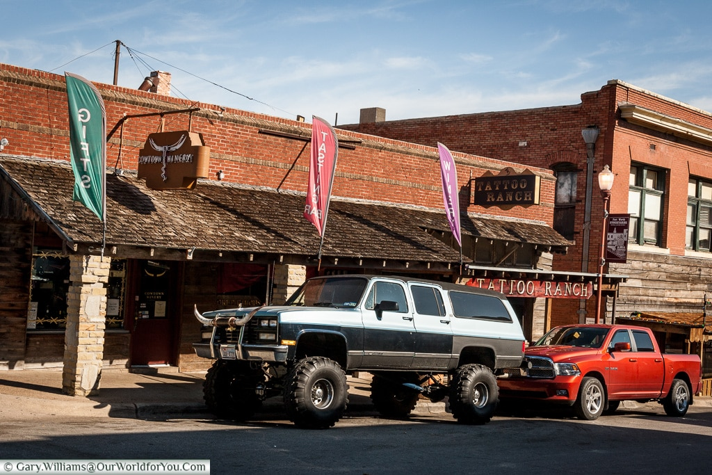 A truck with attitude, Stockyards. Fort Worth, Texas, America, USA