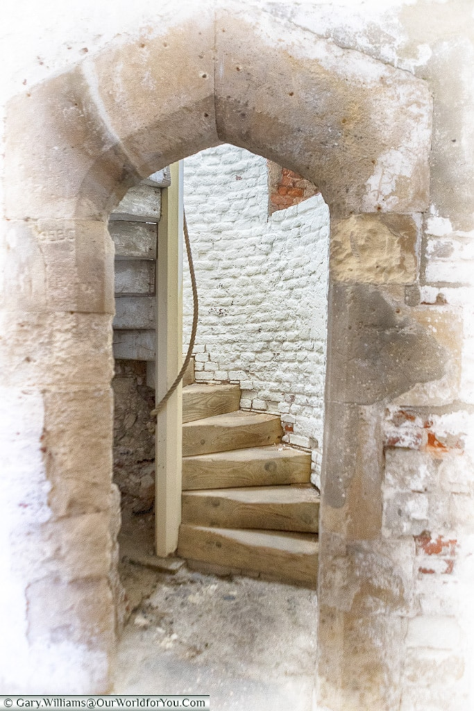 Staircase to the upper levels, Deal Castle, Kent, England, UK