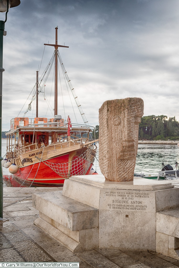 The red boat in the harbour, Rovinj, Croatia