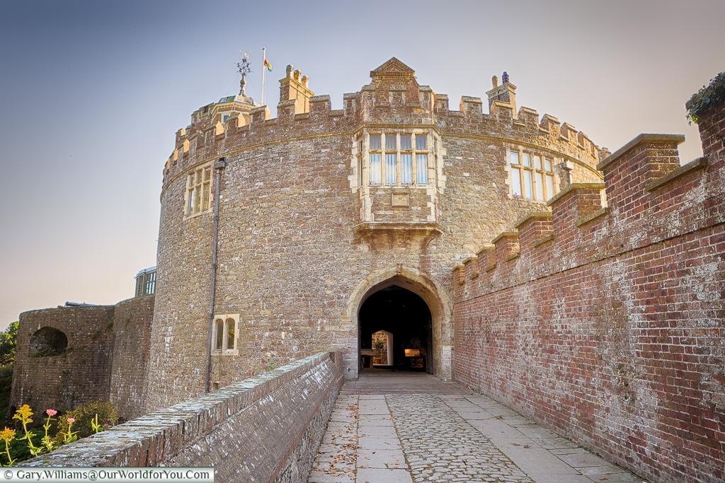 Walmer Castle entrance in the evening , Walmer, Kent, England, UK